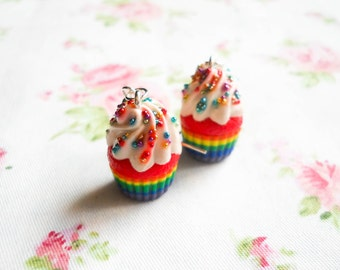 Rainbow Cupcake Earrings, Cupcake Earrings, Rainbow, Cupcakes, Cake, Polymer Clay, Charm Earring, Kawaii Earring, Food Earring, Sweet Lolita