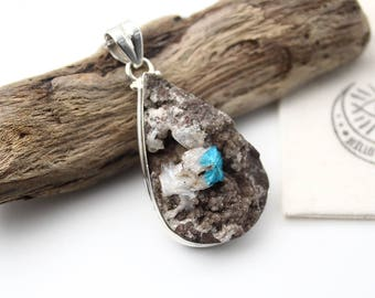 Rough Cavansite Crystal & 925 Sterling Silver Pendant • Blue Cavansite  • Cavansite Jewelry • Boho Jewelry • Boho Chic