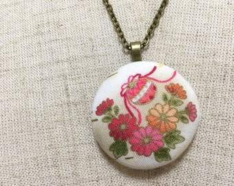 floral pendant, Japanese fabric necklace, fabric pendant, Japanese pendant gift,  floral Necklace, gift for her, Japanese covered button