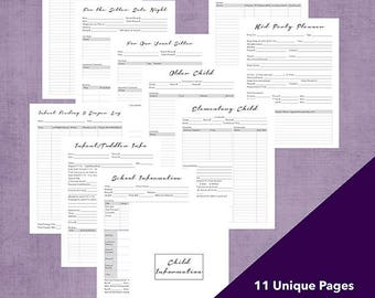 Child School Daycare Sitter Information and Party Planner PDF Printable