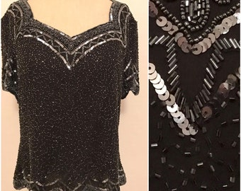 Large black beaded top , vintage black top