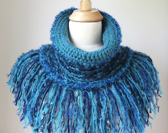 Knit Cowl in Turquoise and Dark Blue with Mohair, Fringed Crochet Statement Piece
