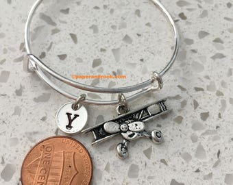 Airplane initial bracelet, airplane jewelry, aviation bracelet, pilot bracelet, gift for pilot, small plane jewelry