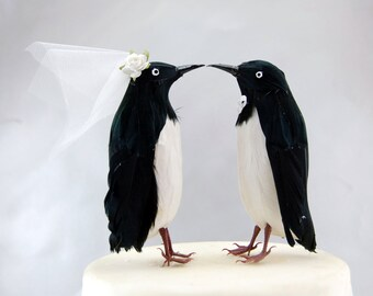 Penguin Wedding Cake Topper: Funny, Winter Bride & Groom Love Bird Cake Topper