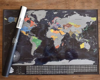 Detailed SCRATCHABLE TRAVEL MAP- 732 Cities, 196 Flags, 76 Sea Depths, 13 Mountain Peaks.