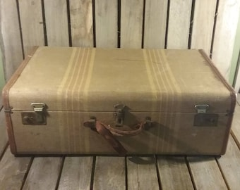 Striped Tweed Suitcase, Large Suitcase