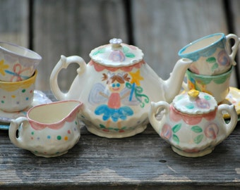 Fairy Personalized Little Girl's Tea Party  Child's Tea Set  Handpainted. . . Teapot, creamer, sugar bowl and 4 matching tea cups