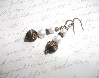 Antique brass earrings with white pearls