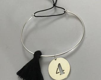 Bangle Bracelet in 925 Silver with tassel and medal figure / Marc Deloche Style