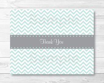 Cute Chevron Thank You Card / Baby Shower Thank You Card / Chevron Pattern / Green & Grey / Gender Neutral / PRINTABLE Instant Download A230