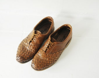 Vintage Eddie Bauer Woven Leather Oxford Shoes, Mens 11 / ITEM174