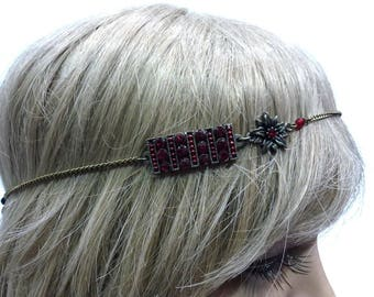 Headband for metal and Red rhinestone pattern.