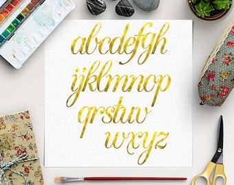 BUY5FOR8 Digital Golden Alphabet, Gold Font Clipart, Hand Drawn Letters,  Gold Foil Alphabet, Lower Case Letters