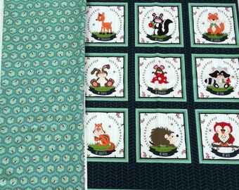 To Be or Not to Be forest animals quilt or wallhanging cotton fabric panel + 1.25 metres co-ordinating fabric