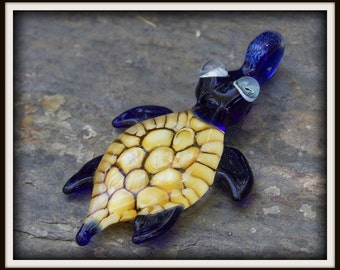 Sea Turtle Pendant - MADE TO ORDER - Blue Baby Sea Turtle with Amber Shell - Lampwork Glass Pendant Necklace Bead - by Shawn Tucker