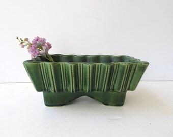 Vintage Mid Century Modern Green Glaze Ceramic Planter - UPCO 161 USA - Green Ceramic Planter - Fluted Ceramic Planter