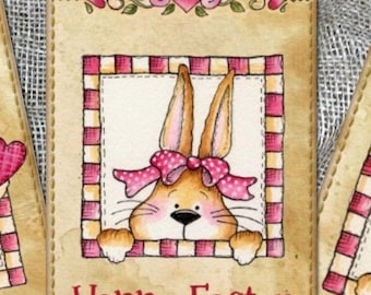 Set of 6 Easter Bunny Gift Tags & Natural Jute Twine