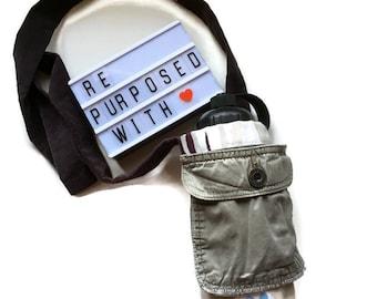 Water Bottle Sling - Zero Waste Bag - Crossbody Phone Case - Water Bottle Bag - Cross Body Walking Bag - Mother Day Gift - Upcycled Bag