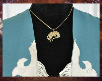 Brass Bucking Horse Pendant & Gold Tone Chain, Vintage Western Cowgirl Necklace