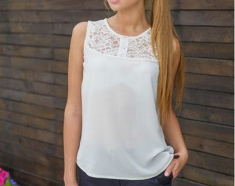 Chiffon white blouse / shirt women  / Guipure white blouse / Summer sleeveless shirt / business clothes for women