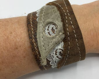 Brown leather cuff bracelet leather ibiza style cuff Brown leather womens bracelet Leather boho bracelet Ibiza style bracelet