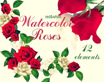 Digital Watercolor red and white roses, 20 roses clip art, floral Digital Collage, wedding decor, Instant Download