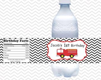 Fire Truck - Personalized Water bottle labels - Set of 5 Waterproof labels