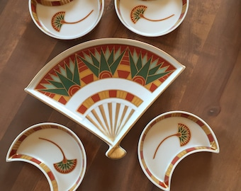 Signed Gail Levites Lotus Porcelain Snack Set 5 piece