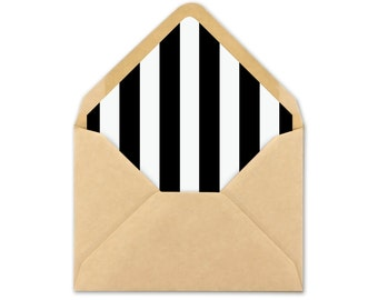 Envelope Liner Template – Black and White Stripe Envelope Liner Printable – Printable Wedding Stationery – Black Stripe Envelope Liner