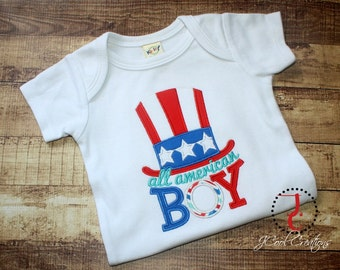Boys 4th of July Shirt - Boys 4th of July Outfit, Patriotic Shirt, All American Boy, 4th of July Baby, Military Baby, Military Homecoming