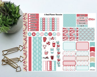 Peppermint Mocha happy planner mini stickers, Christmas stickers, Mini happy planner stickers, #mini01
