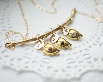Gold Branch Family Necklace   Gold Filled Initials and Chain   Leaves with Birthstone Crystals   1 2 3 4 5 6 Children   Leaf Necklace