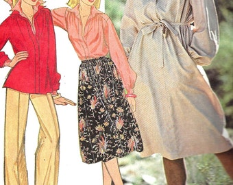 1970s Dress Pattern Top Pullover Vintage McCall's Sewing Uncut  Women's Misses Size 14 Bust 36 Inches