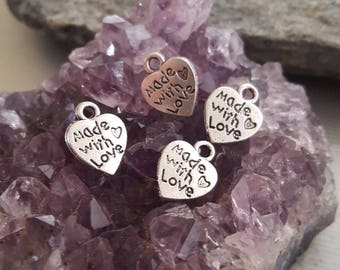 Made with Love (4) Charms (Addition to Pendants) Thoughtfullkeepsakes Shop
