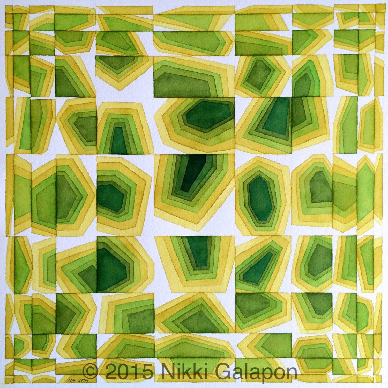 Shades of Green original geometric shapes abstract modern art