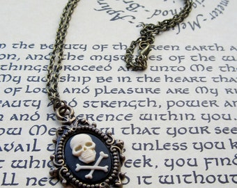 Skull and Crossbones necklace, Antique Silver or Antique Brass, Steampunk, Victorian