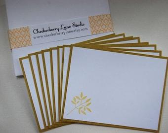 leafy branch flat note card set