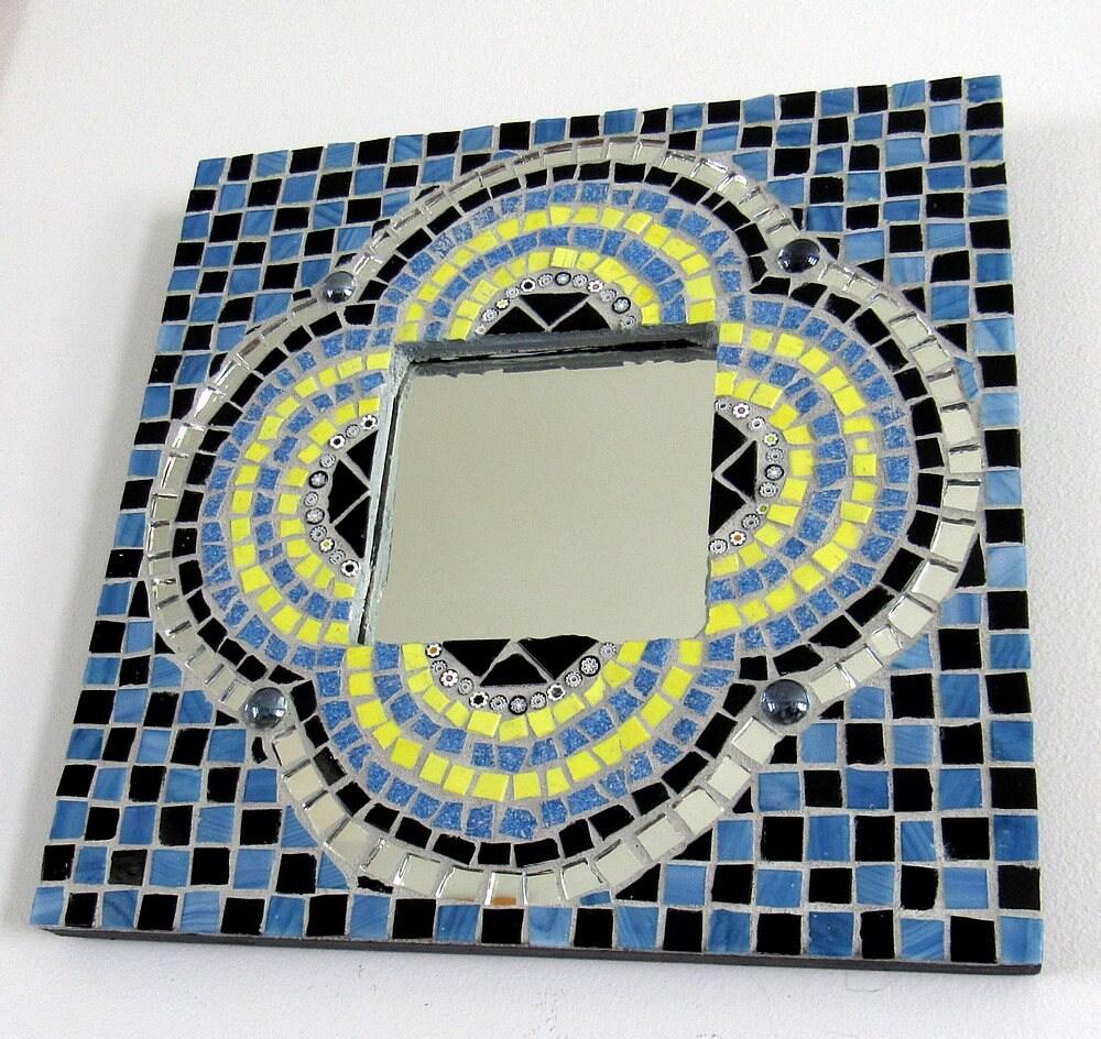 Marco mosaico multicolor w/espejo-mosaico arte enmarcado