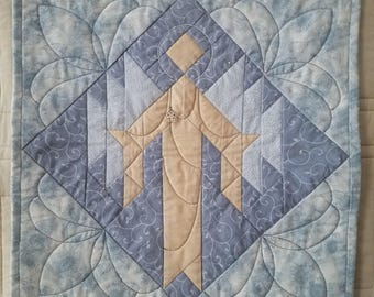 Gold and Blue Snow Angel Quilted Wall Hanging