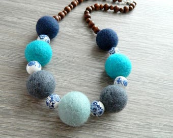 Necklace balls felted wool beads, ceramic and wood
