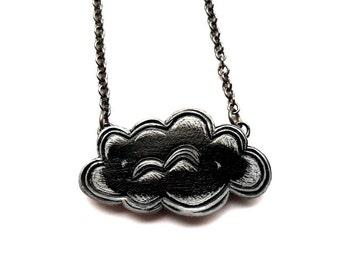 Little Black Cloud Necklace.Storm Cloud Necklace. Rain Cloud Necklace