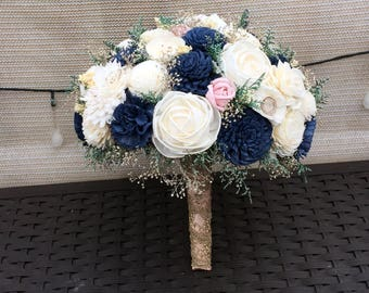 Navyblush and Ivory Wedding Bouquet made with sola flowers - choose colors - bridal bouquet - Alternative bouquet - bridesmaids bouquet