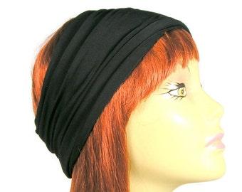 100% Cotton Black Head Wrap Wide Cotton Black Headbands Yoga Headbands Chefs Headgear Wide Black Head Wrap Unisex Head Wraps Mens Headbands