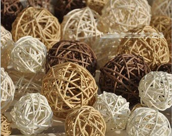 15PCS Mixed Cream Tan Brown White Rattan Cane Wicker Wood Ball Rustic Wedding Vintage Baby Shower Birthday Nursery Decoration