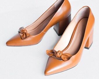 Handmade sheep leather very comfortable block heels Catherine H