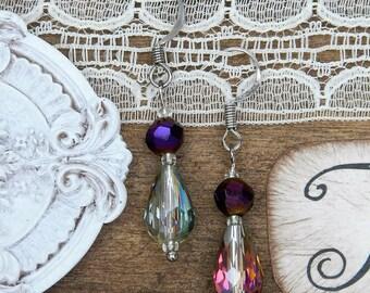 Beautiful rainbow and purple glass beaded earrings