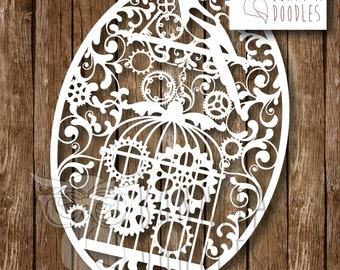Magpie and Cogs Cage Paper cutting template Personal and Commercial