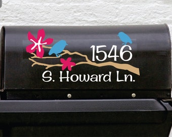 Mailbox Decal With Custom Address // Decal with Tree Branch and Birds //Personalized Mailbox Address // Personalized Mailbox