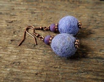 Purple earrings, boho earrings, bead earrings, gift for her, statement earrings, beaded earrings, boho jewelry, felt ball earrings, boho