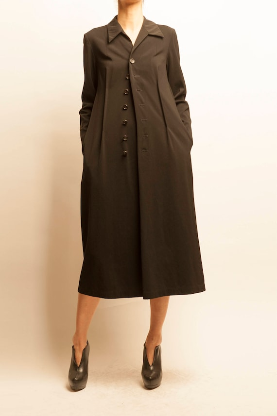 1990's tricot Comme des Garçons black adjustable shirt dress